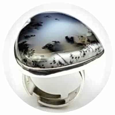 Joyas de ópalo dendrítico, colgantes, anillos y pulseras