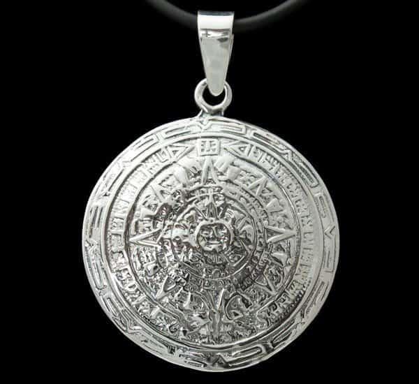 Colgante en Plata de Ley 925 mls – Calendario Azteca – Piedra del Sol