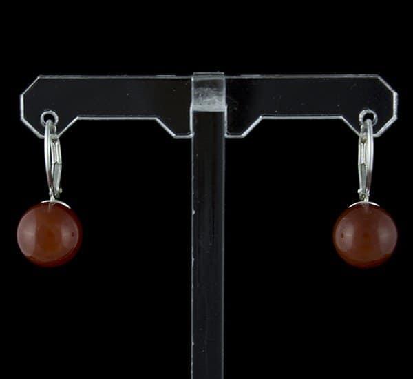 Pendientes en Plata de Ley 925 mls y Ágata Cornalina natural mod. Bola 10 mm y cierre ballesta
