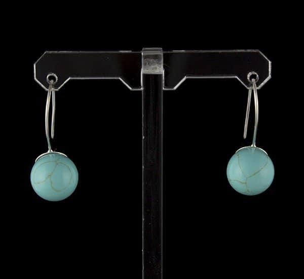 Pendientes en Plata de Ley 925 de howlita azul turquesa