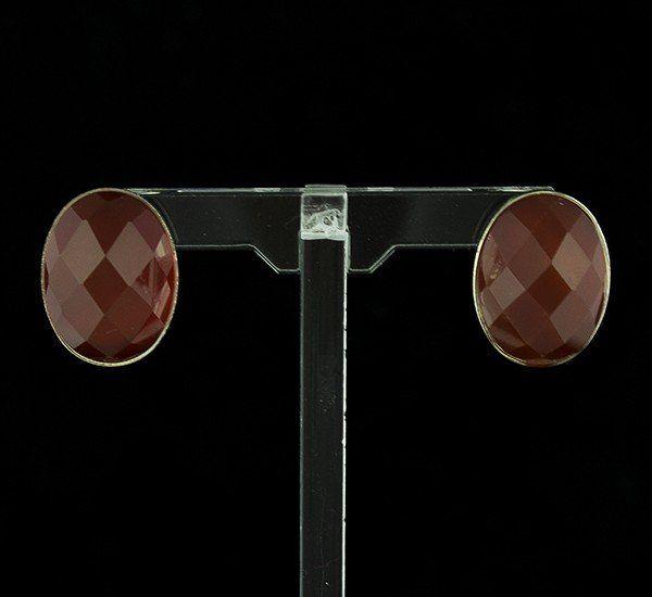 Pendientes en Plata de Ley 925 mls y Ágata Cornalina natural facetada – Oval con cierre omega