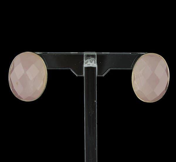 Pendientes en Plata y Cuarzo Rosa natural con cierre omega