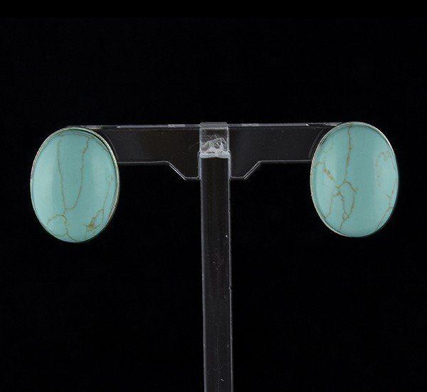 Pendientes en Plata de Ley 925 mls y simil Turquesa mod. 210111910 – Oval con cierre omega
