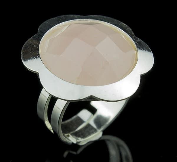 Anillo ajustable en Plata de Ley 925 mls y Cuarzo Rosa natural facetado mod. 250107401