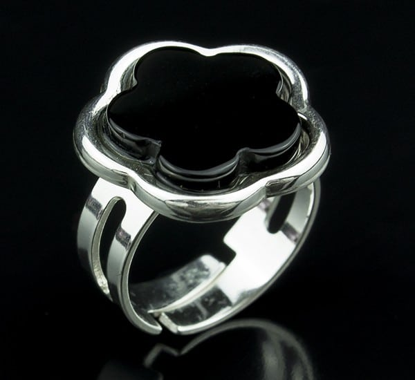 Anillo ajustable en Plata de Ley 925 mls y Ónix natural mod. 250105700