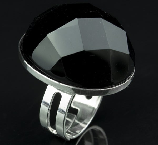 Anillo ajustable en Plata de Ley 925 mls y Ónix natural facetado mod. 250106107