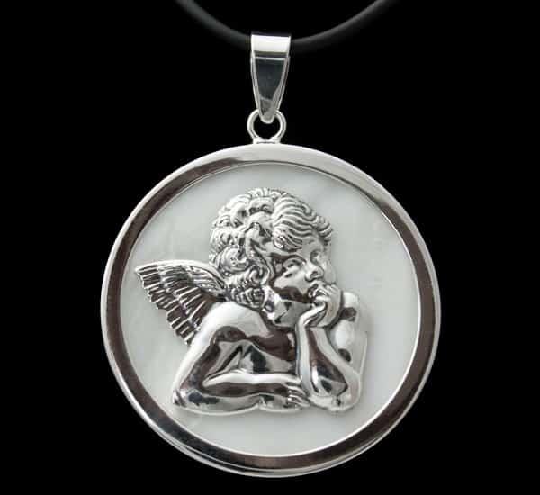 Colgante en Plata de Ley 925 mls – Medalla Angelito sobre Nácar