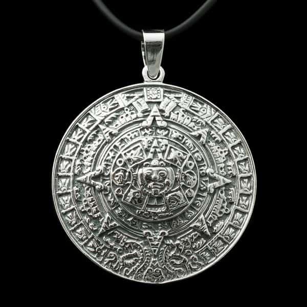 Colgante en Plata de Ley 925 mls – Piedra Sol – Calendario Azteca