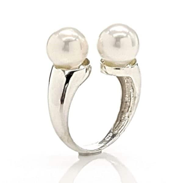 Anillo adaptable de dos perlas