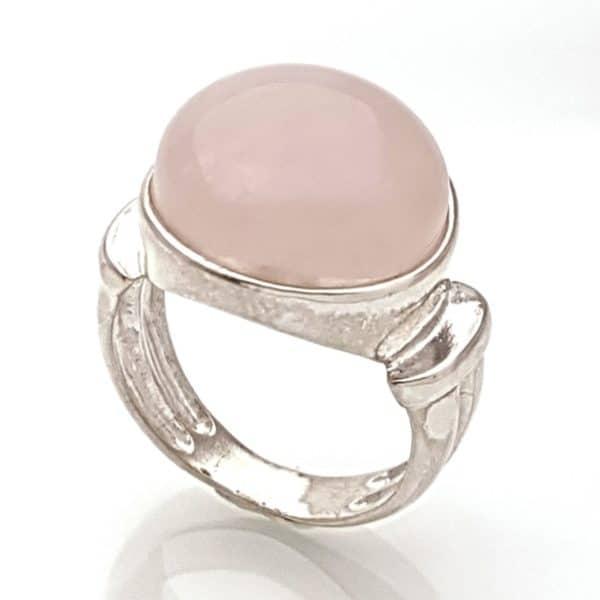 Anillo de plata 925 con piedra redonda de 15 mm. de cuarzo rosa (5)