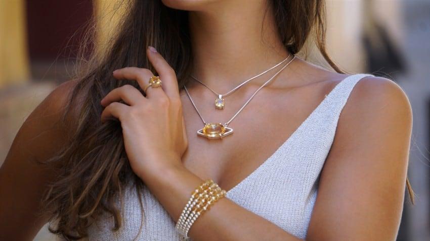 Joyas de cuarzo citrino en plata. Pulseras, anillos y colgantes.