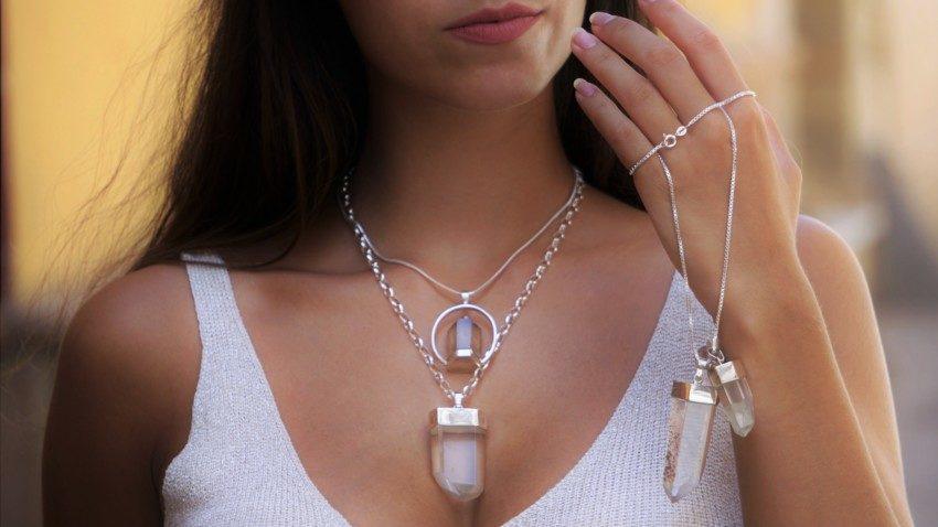 Joyas de cuarzo cristal de roca en plata