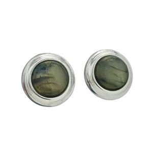 Pendientes redondos de Labradorita en plata