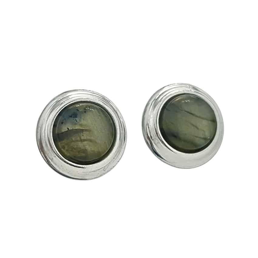 Pendientes labradorita redondos en plata 925 con agarre presión (1)