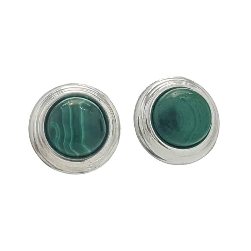 Pendientes malaquita redondos en plata 925 con agarre presión (2)