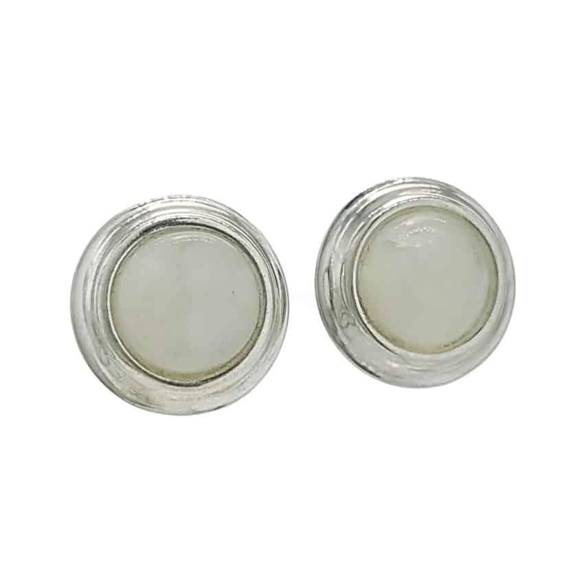 Pendientes piedra luna redondos en plata 925 con agarra presión (1)