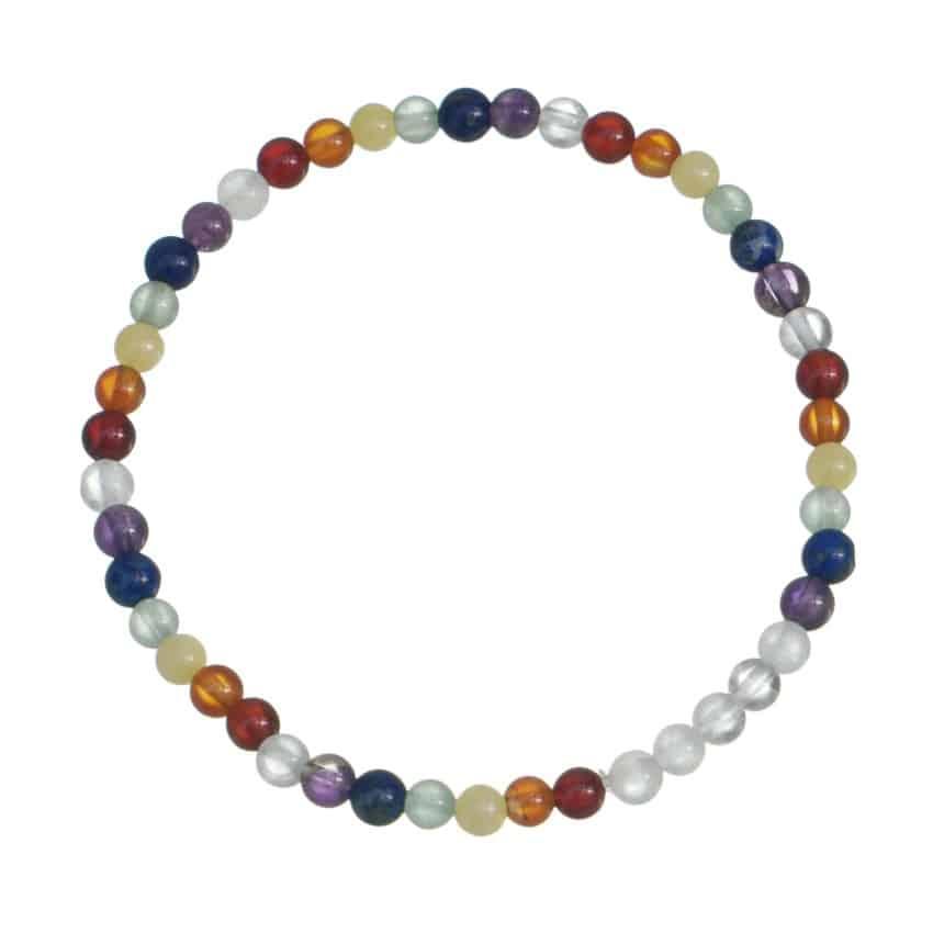 Pulsera elástica de bolas de 4 mm. con las siete piedras de los chakras (2)