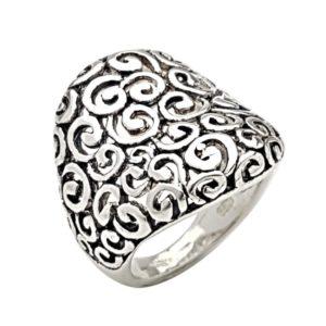 Anillo bombé espirales plata