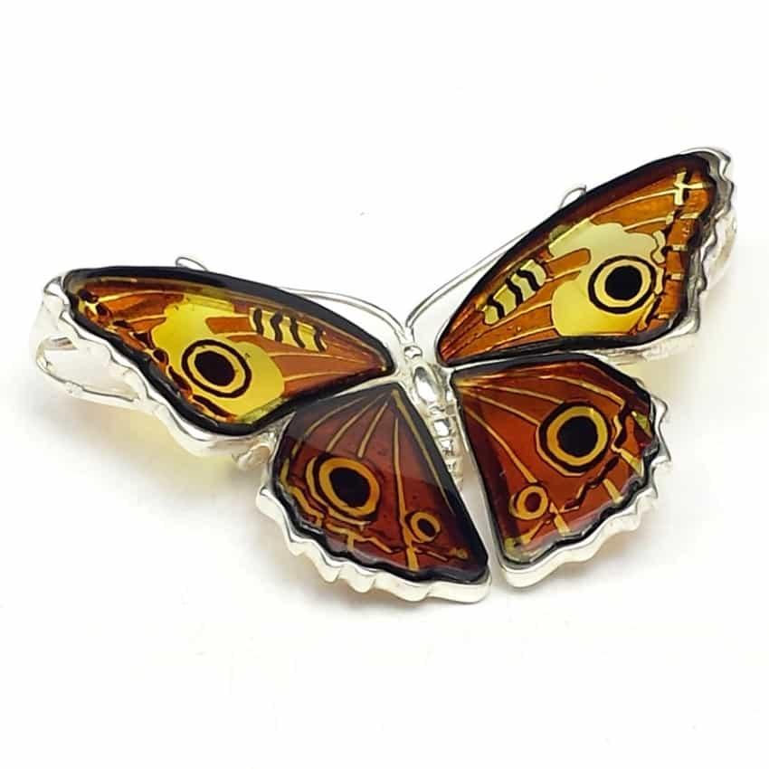 Ámbar de Polonia, Broche de mariposa en plata