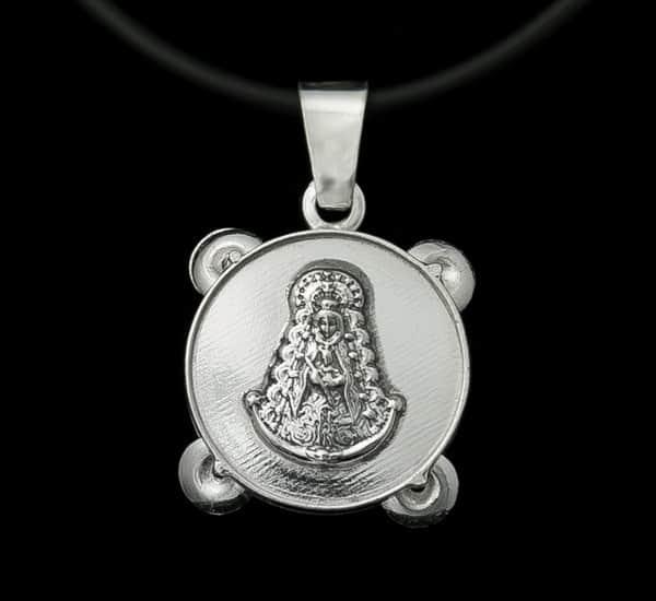 Colgante en Plata de Ley 925 mls – Medalla pandereta Virgen del Rocío