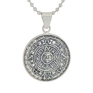 Colgante en Plata de Ley 925 mls - Calendario Azteca, Piedra del Sol