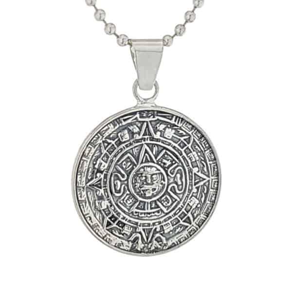 Colgante calendario azteca pequeño en plata 925 (3)
