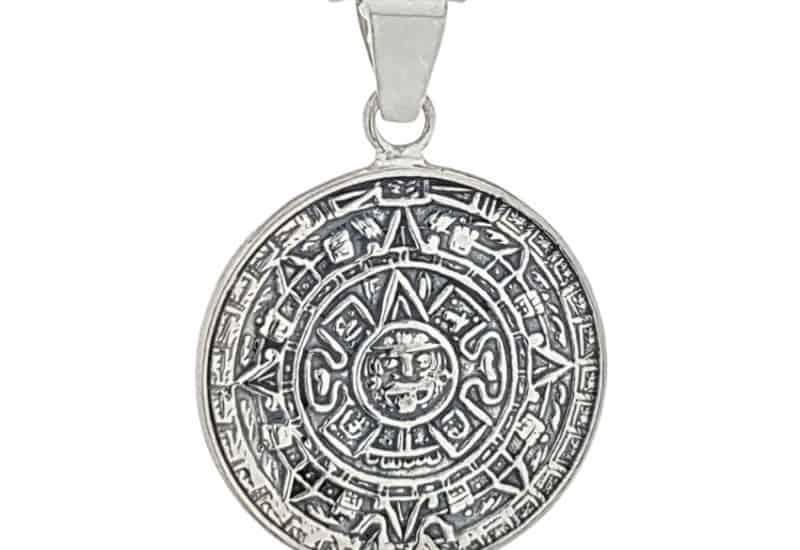 Colgante en Plata de Ley 925 mls – Calendario Azteca, Piedra del Sol