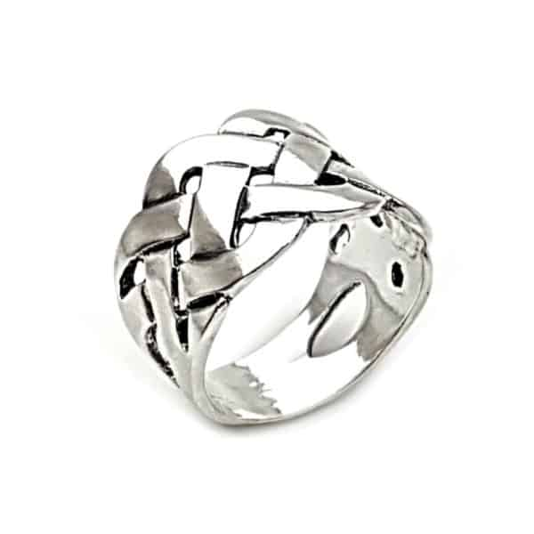anillo trenzado estilo celta en plata 925