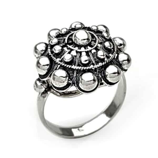 Anillo botón charro tamaño grande en plata 925 (1)