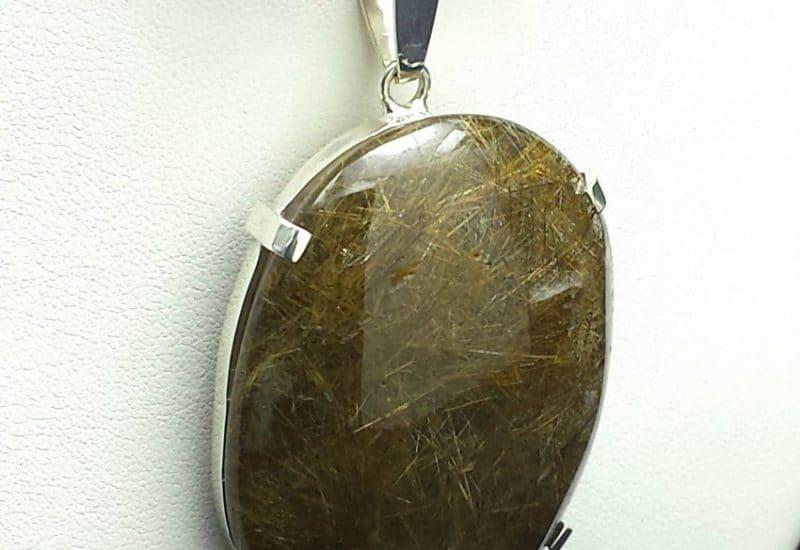 Espectacular colgante de Cuarzo Rutilado fabricado en Plata