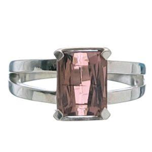 Anillo de Turmalina rosa en plata de talla 15