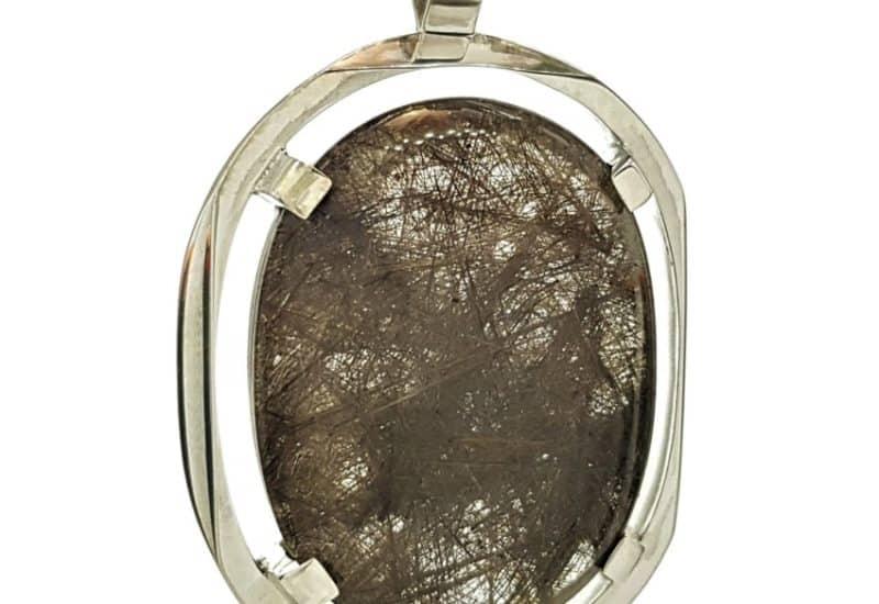 Imponente colgante de Cuarzo Rutilado montado en plata 925