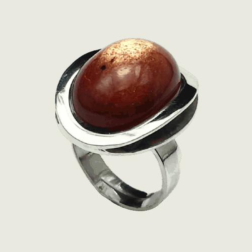 Anillo adaptable de Piedra Sol fabricado en plata