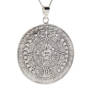 Colgante 6,6 cms. Calendario Azteca en plata