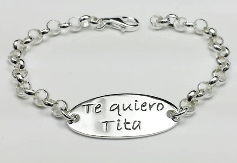 Pulsera Te Quiero Tita fabricada en Plata