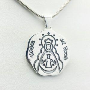 Colgante en Plata de Ley 925 mls - Medalla Virgen del Rocío