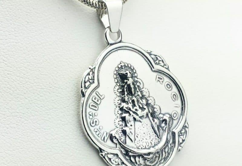 Colgante en Plata de Ley 925 mls – Medalla Virgen del Rocío