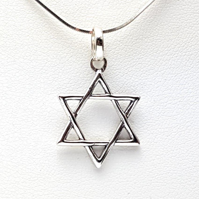 Colgante estrella de David en plata