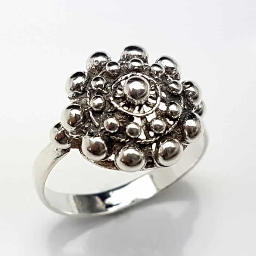 Anillo botón charro en plata
