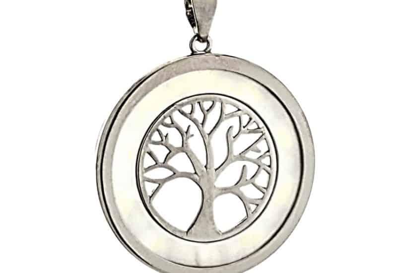 Colgante árbol de la vida de plata y nácar