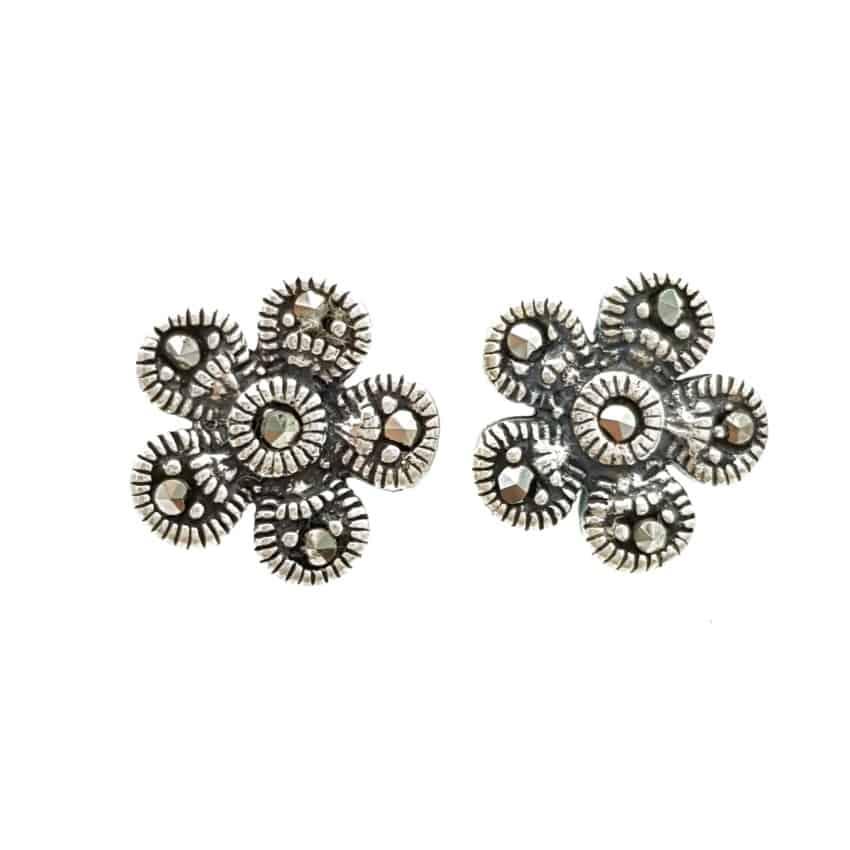 Pendientes flor de plata y marquesitas (3)