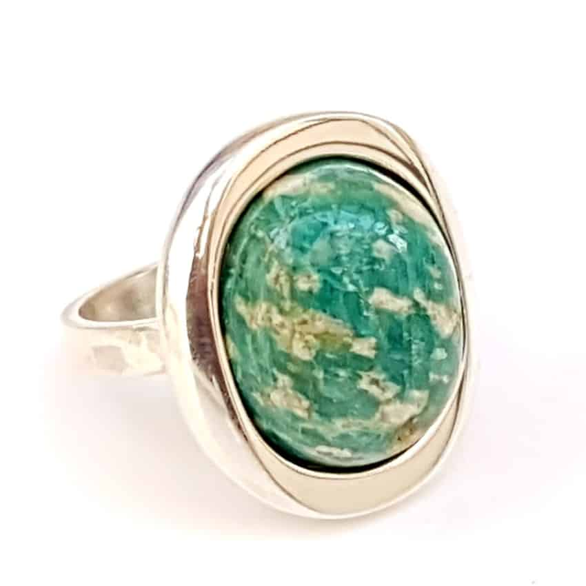 Piedra de amazonita montada en anillo de plata (2)