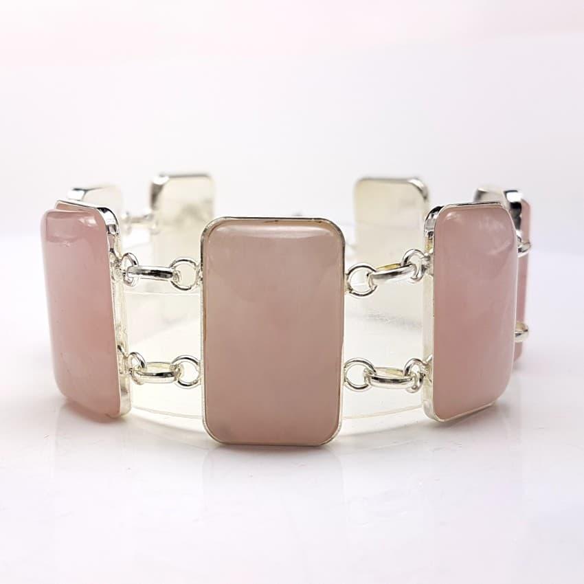Pulsera plata y cuarzo rosa