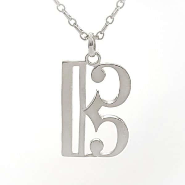 Colgante de símbolo musical clave de DO en plata de ley 925