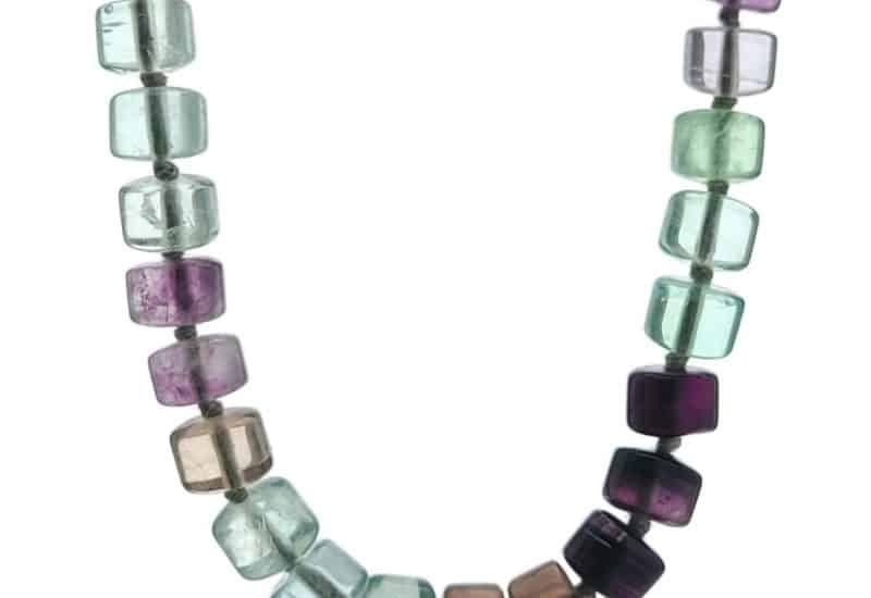 Collar cilindros de fluorita de 51 centímetros + cierre marinero.