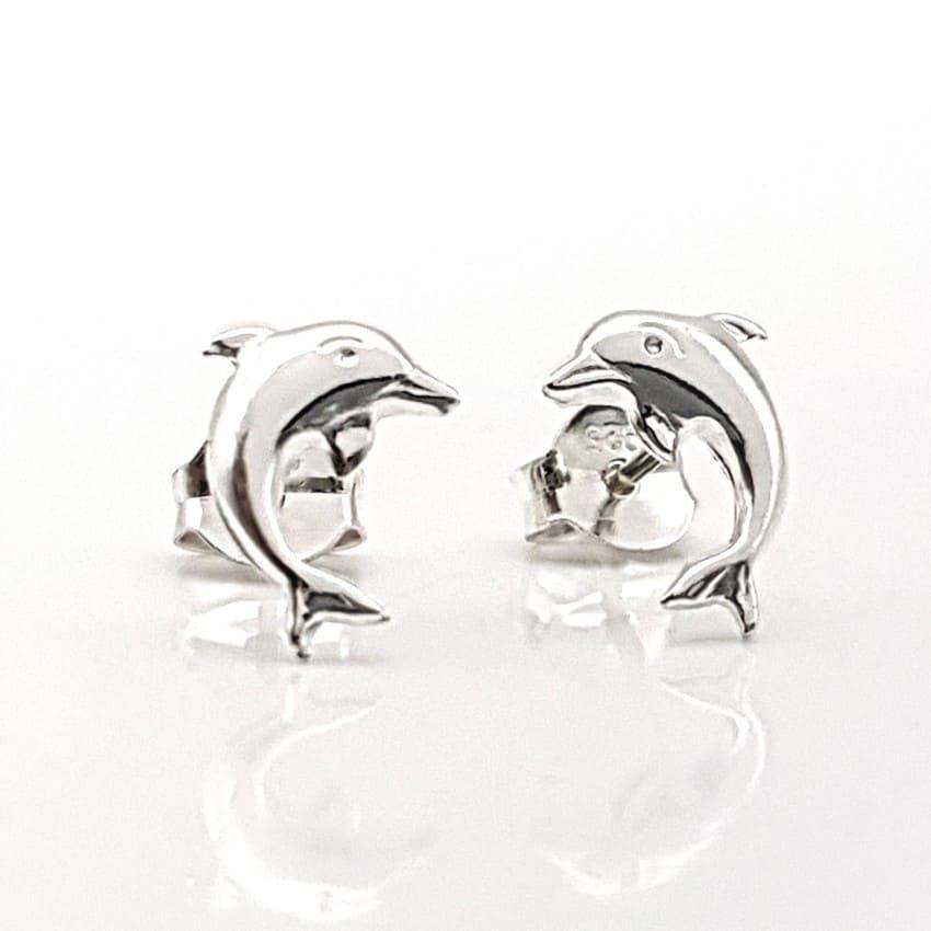 Pendientes delfines de plata