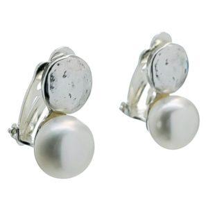 Pendientes plata 925 de cierre pellizco con perla sintética