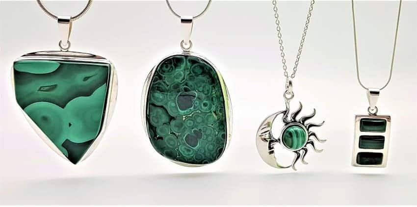Joyas de piedras de malaquita en plata.