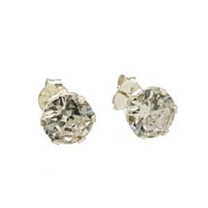 Pendientes circonitas 8 mm. en talla brillante engastados en plata 925