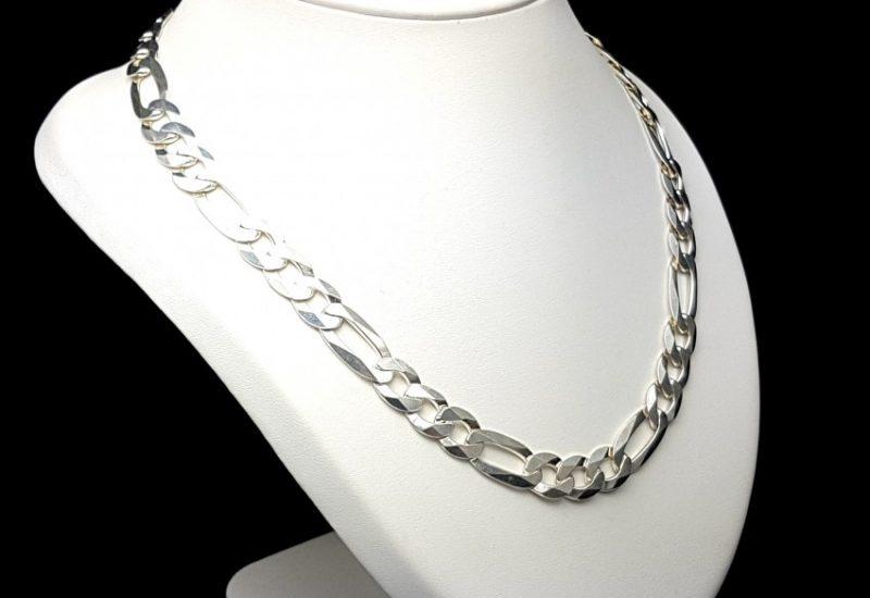 Cadena en plata de ley 925 mls- Cartier 3-1 50 cm, ancho 11 mm